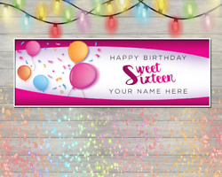 Personalized 16th Birthday Banner Pink Balloon Background Decoration Vinyl Sign