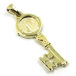 Solid 18k Yellow Gold Key Pendant Saint Benedict Medal Cross 1.2 Inches