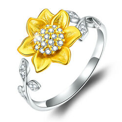 Solid 925 Sterling 3D Sunflower Shape Open Flower Rings for Girls Jewelry