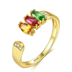 Simple 18K Gold Open Tri-Colour Zircon Rings for Women Solid 925 Silver Jewelry