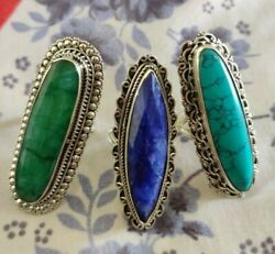 Emerald, Turquoise, Sapphire Ring Sterling Silver Long Rings, Wedding Jewellery