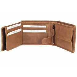 DiLoro Men's Leather Bifold Double Flip ID Zip Coin Wallet with RFID Protecti...