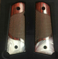 1911 Full Size Checkered Rosewood Grips W/acrylic Pearl Accent Fits Most Clones