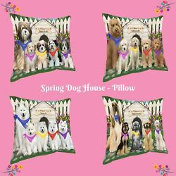 Spring Dog House Pillow, Dogs, Cats, Pet Photo Lovers Pillow Gifts, Dog Pillow