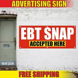 Ebt Snap Accepted Here Banner Advertising Vinyl Sign Flag Use Cards Food Stamps