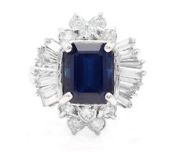 5.04ct Natural Blue Sapphire And Diamond 14k Solid White Gold Ring