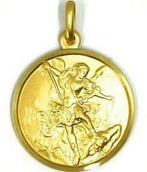 Solid 18k Yellow Gold Saint Michael Archangel 25 Mm Medal, Pendant Made In Italy
