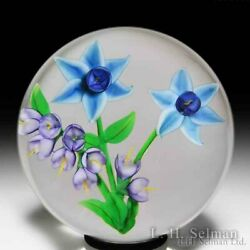 Randall Grubb 1986 Blue Flowers And Spray Glass Paperweight