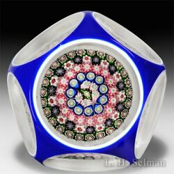 Antique Clichy Close Concentric Millefiori Mushroom Overlay Faceted Paperweight