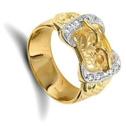 Menand039s Gold Buckle Ring Very Heavy Full Hallmark British Made Solid Yellow Gold