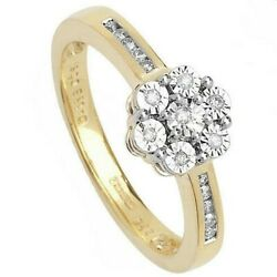 Diamond Cluster Ring Illusion Set Yellow Gold Hallmarked Certificate Size R - Z