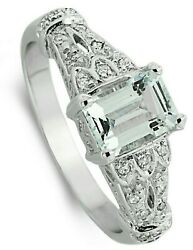 Aquamarine And Diamond Ring Large Sizes R - Z White Gold Appraisal Certificate