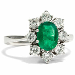 Vintage Emerald Ring 750 White Gold And Brilliant Diamond Engagement