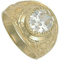 Solid Gold College Ring Graduation University Menand039s Clear Stone Heavy Hallmarked