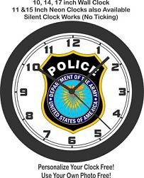 Usa Dept. Of The Army Police Seal Wall Clock-free Us Ship, Marines, Air Force