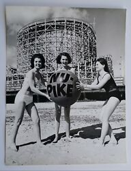 Vintage Nu-pike Photograph Young Girls Posing In Swimsuit Nostalgic Beach Day