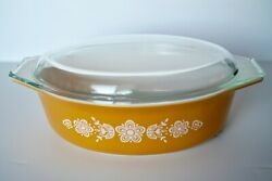 Vintage Pyrex Covered Ovenware Casserole Dish 045 2 1/2 Qt W/lid Butterfly Gold