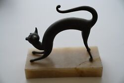 Rare Vintage Metal Cat Art Deco With Marble Base Statue Figurine