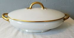 Vintage The Calais By Jean Pouyat Limoges China Covered Oval Casserole Dish