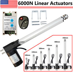 Dc 12v Linear Actuator 1320lbs W/ Remote Controller Electric Motor 6000n Lift Ig