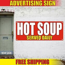 Hot Soup Banner Advertising Vinyl Sign Flag Food Bar Cafe Special Served Daily