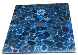 Set Of Two 48 X 24 Blue Agate Table Top Semi Precious Stones Marquetry Decor