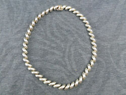 Sterling Silver Half Rope Serpentine 18 Necklace 54.5 Grams Made In Italy