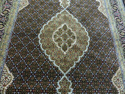 6and0396x10and039 Black High End New Hand Knotted Wool And Silk Mahi Fish Tabrizz Dense Rug