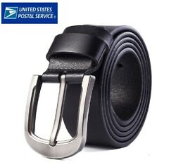 Mens Genuine Leather Belt Belts With Classic Silver Buckle Brown Black US STOCK $9.99
