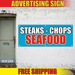 Seafood Banner Advertising Vinyl Sign Flag Cuisine Grill Bbq Fish Steaks Chops