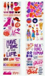 Cool Girls amp; Sayings Clear Stamp Set 4 Sheets 64 Stamps NEW $9.49