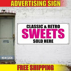Sweets Banner Advertising Vinyl Sign Flag Candy Shop Pie Classic Retro Sold Here
