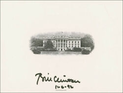 William J. Bill Clinton - White House Engraving Signed
