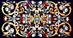 5and039x3and039 Black Marble Dining Table Top Multi Stone Floral Inlay Hallway Decors B009