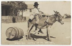 1917 Pt. Isabel Texas - Real Photo Mexican Man Hauling Water In Barrel On Mule