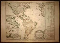 Map Geographic Old America Or Indes Western, Robert Of Vaugondy