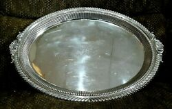 1891 Gorham Silver Soldered 0725 Silverplate Shell Handle Tray Ribbed Gadrooned