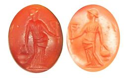 2nd - 3rd Century Ad Ancient Roman Carnelian Intaglio Of Isis With A Sistrum