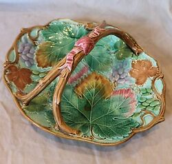 Antique Victorian English Majolica Pottery Basket By Wedgwood