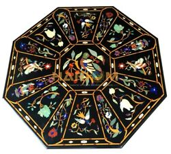 36 Marble Black Dining Table Top Birds Floral Marquetry Inlay Hallway Art B216a