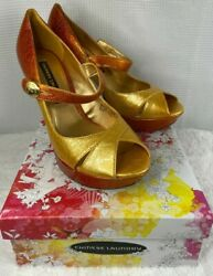 Chinese Laundry Bentley Heels Sandals Ombre Mustard Patent Women's Size 10 M