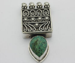 Sterling Silver .925 Stunning Gothic Mideval Natural Stone Charm 28.5g E630