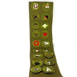 1930s Boy Scout Sash Identification Strip With 18 Merit Insignia Patches Badges