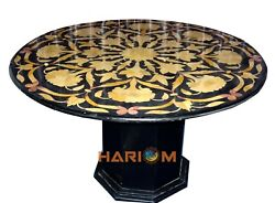 48 Round Marble Dining Table Top With 28 Stand Mosaic Inlay Hallway Decor B257