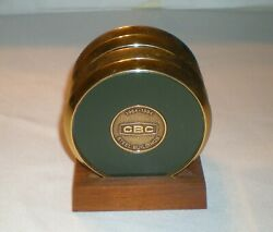 Cbc Steel Buildings Coaster Set Rare 5 Pc Brass Leather Cork Wood Stand