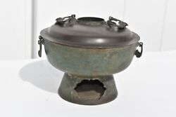 Early Antique Chinese Brass And Copper Hot Pot Cooking Pot W. Bat Shaped Handles