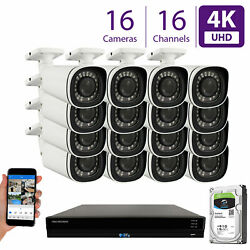 16 4k 8mp 5x Motorized Zoom Ip Microphone 4tb Nvr Poe Security Camera System