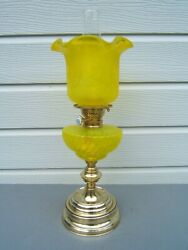 Oil Lamp Vintage Yellow Etched Tulip Shade Yellow Ribbed Font Brass Base Ol52