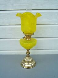 Oil Lamp Vintage Yellow Etched Tulip Shade Yellow Ribbed Font Brass Base Ol53