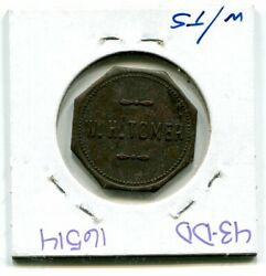 W H Tomer Good For 10 Cent In Trade Token Br Octaganol 25mm